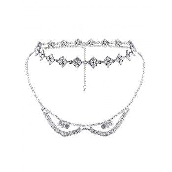 Rhinestoned Layered Necklace - SILVER SILVER