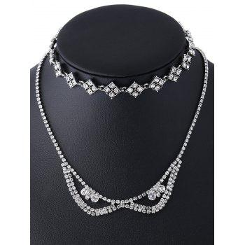 Rhinestoned Layered Necklace -  SILVER
