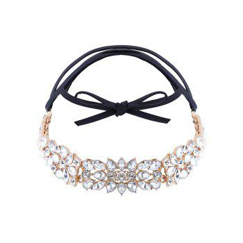 Artificial Leather Rhinestone Choker Necklace - GOLDEN GOLDEN