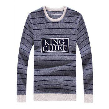 Striped Graphic Crew Neck Long Sleeve Sweater