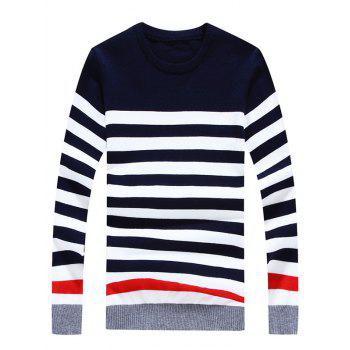 Striped Color Block Crew Neck Long Sleeve Sweater