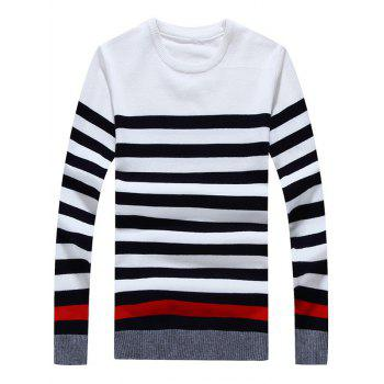 Striped Color Block Crew Neck Long Sleeve Sweater - WHITE WHITE