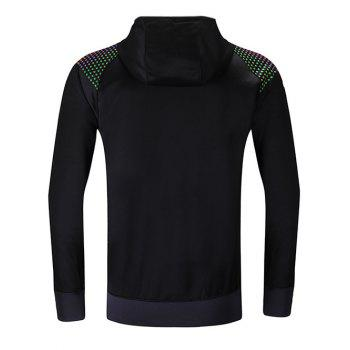 Hooded Raglan Sleeve Colorful Zipper Design Hoodie - BLACK BLACK