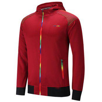 Hooded Raglan Sleeve Colorful Zipper Design Hoodie
