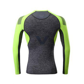 Color Block Splicing Raglan Sleeve V Graphic Fitness T-Shirt - DEEP GRAY DEEP GRAY