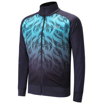 Leaves Print Zip Up Raglan Sleeve Jacket - BLUE BLUE