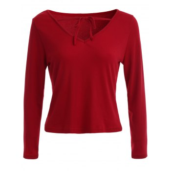 Lace Up V Neck Plain T-Shirt - RED S