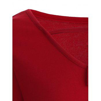 Lace Up V Neck Plain T-Shirt - RED RED