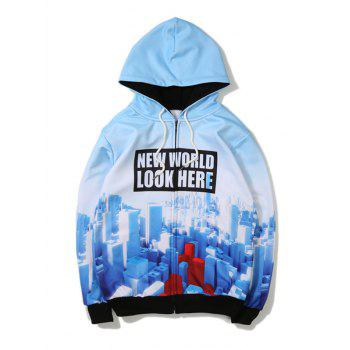 3D Printing Zip Up Hoodie - BLUE XL
