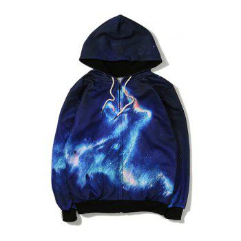 Lightning Printing Zip Up Hoodie
