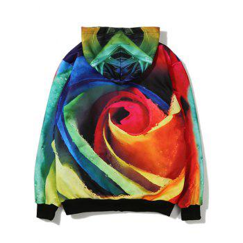 Crown Rose 3D Printing Zip Up Hoodie - L L