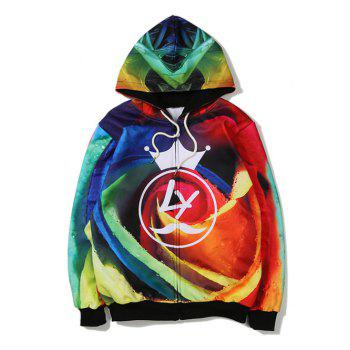 Crown Rose 3D Printing Zip Up Hoodie - COLORMIX L