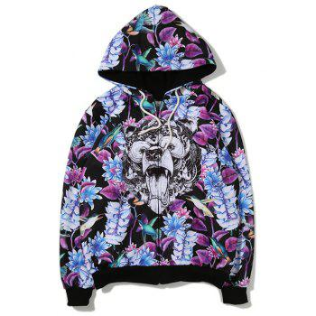 Leaves Animal 3D Printing Zip Up Hoodie