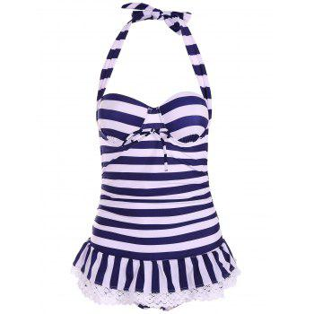 Halterneck Striped Navy Style Bow Tie Swimwear