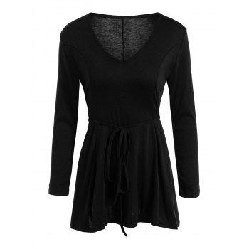 Tunic T-Shirt Mini Dress with Lace Up