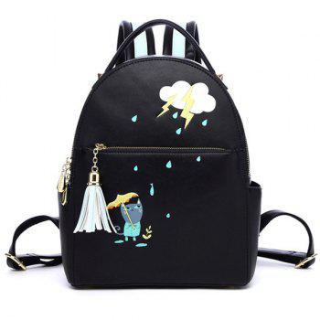 Tassel Cartoon Print PU Leather Backpack