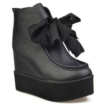 Platform Bowknot Hidden Wedge Ankle Boots
