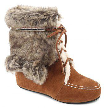 Fluffy Lace Up Hidden Wedge Short Boots