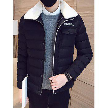 Zip Up Removable Faux Fur Collar Padded Jacket