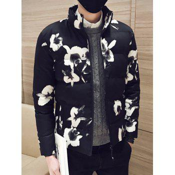 Floral Printed Side Pocket Zip Up Padded Jacket