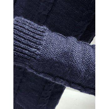 Turtleneck Long Sleeves Cable Knit Sweater - CADETBLUE M