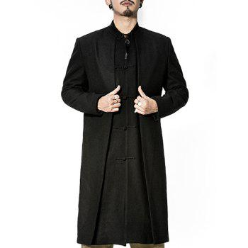 Frog Button Stand Collar Longline Layered Coat