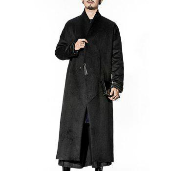 Wool Blend Longline Pocket One Button Coat