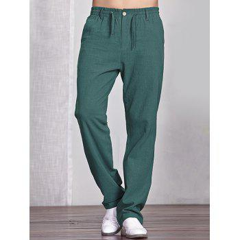 Drawstring Pocket Elastic Waist Loose Linen Pants