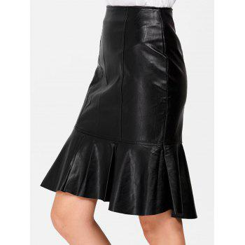 High Waisted PU Leather Ruffles Fishtail Skirt