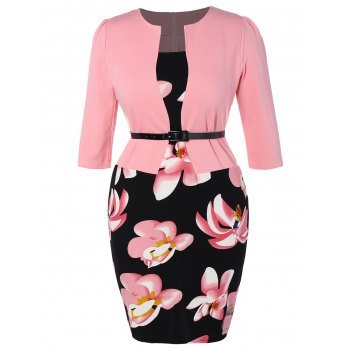 Floral Printed Belted Plus Size Peplum Dress