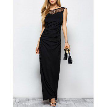 Lace Panel Ruched Long Formal Maxi Dress with Slit
