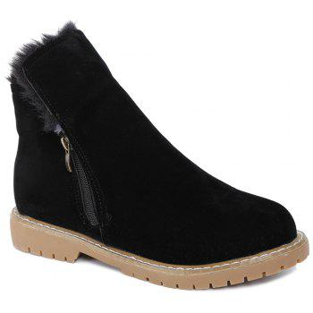Zipper Flat Heel Faux Fur Short Boots