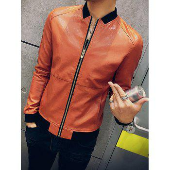 Slim Fit Zip Up Stand Collar PU Leather Jacket