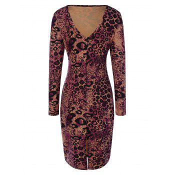 Plunging Neck Leopard Print Slit Bodycon Dress