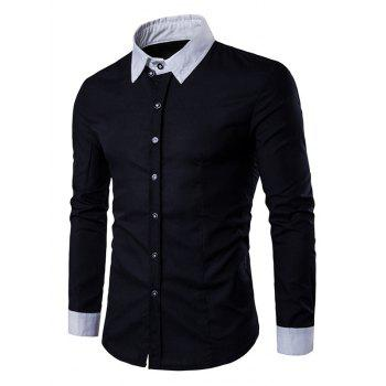 Back Pleat Contrast Collar Button Down Shirt