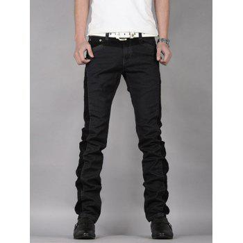 Slim Fit Zipper Fly Straight Leg Panel Jeans