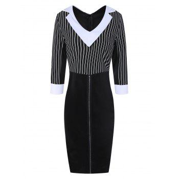 Striped Color Block Sheath Dress