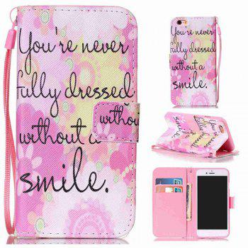 Smile Quote Leather Wallet with Card Slot Case For iPhone 6Plus