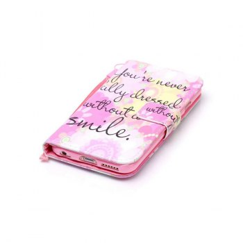 Smile Quote Leather Wallet with Card Slot Case For iPhone 6Plus - FOR IPHONE 6 PLUS / 6S PLUS FOR IPHONE 6 PLUS / 6S PLUS