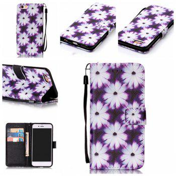 Floral PU Leather Card Slot Wallet Flip Case For iPhone 6S - WHITE + PURPLE WHITE / PURPLE