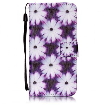 Floral PU Leather Card Slot Wallet Flip Case For iPhone 6S - WHITE / PURPLE WHITE / PURPLE