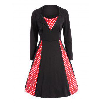 Polka Dot Panel Vintage Swing Dress