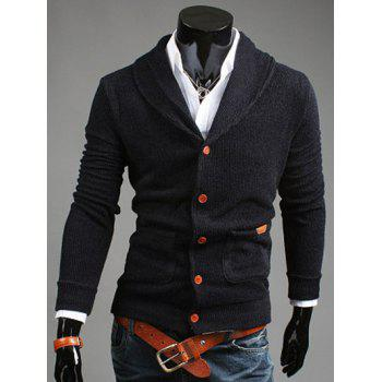 Patch Pocket Shawl Collar Button Front Cardigan