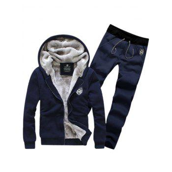 Zip Up Applique Flocking Hoodie and Pants Twinset