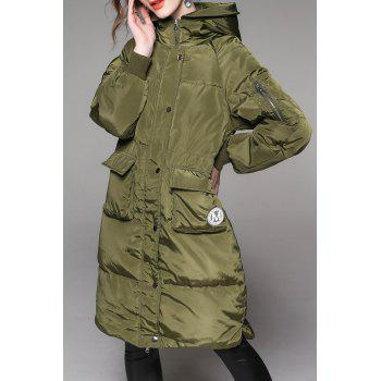 Hooded Patch Pocket Down Coat