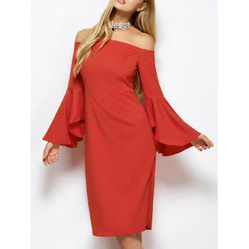 Lantern Sleeve Off The Shoulder Pencil Dress