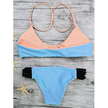 Halter Color Block Strappy Bikini Set - BLUE L