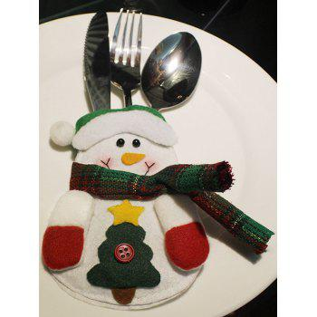 Christmas Party Table Decor Snowman Forks Tableware Cover Bag