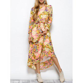Round Neck Floral Belted Maxi Dress