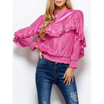Stand Neck Ruffles Embellished Blouse